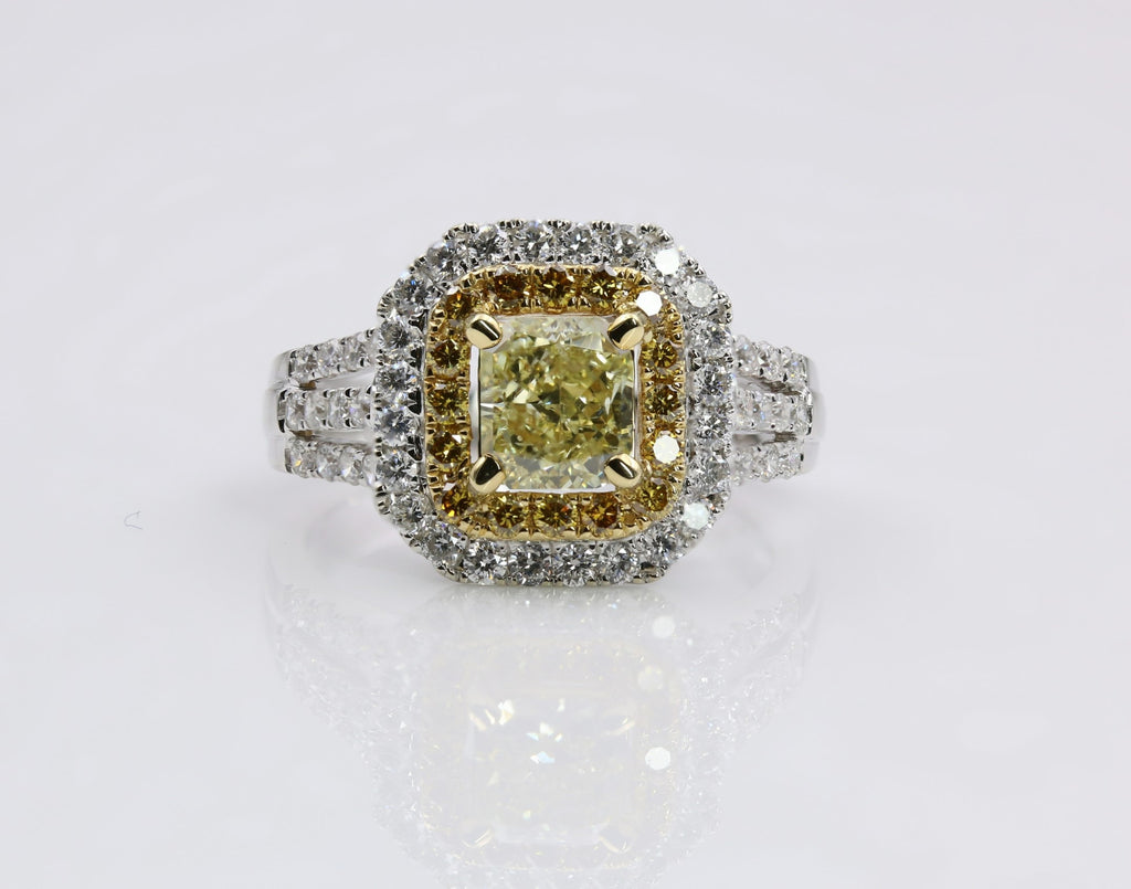DIAMOND RING FANCY YELLOW 18K TWO TONE