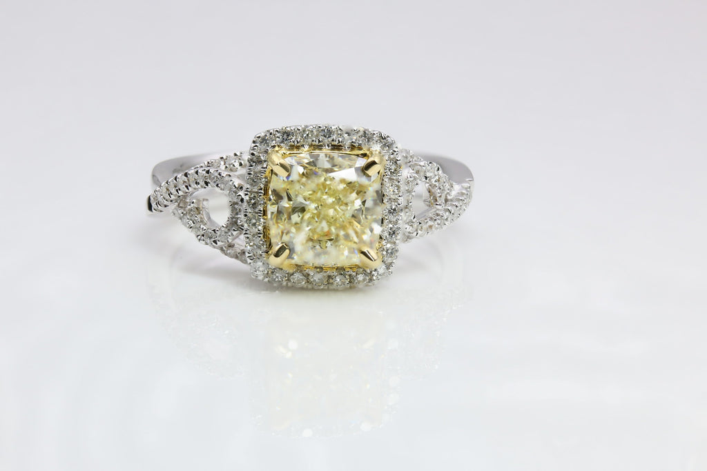 DIAMOND RING FANCY YELLOW 14K TWO TONE