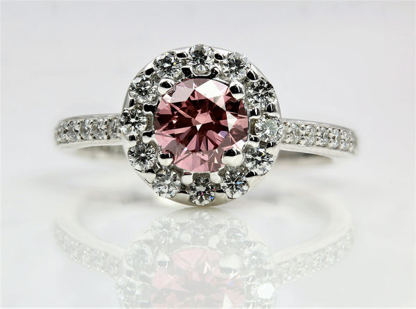 PINK DIAMOND HALO RING 18K WHITE GOLD