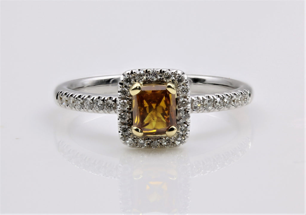DIAMOND RING FANCY DEEP BROWNISH,YELLOW, ORANGE 18K WHITE GOLD