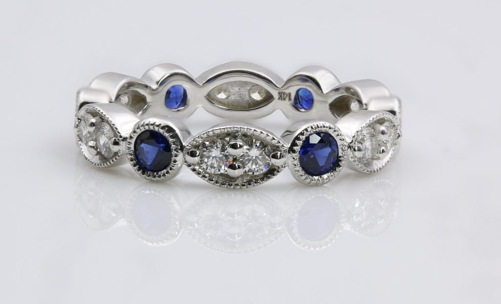 DIAMOND/SAPPHIRE ETERNITY RING 14K WHITE GOLD