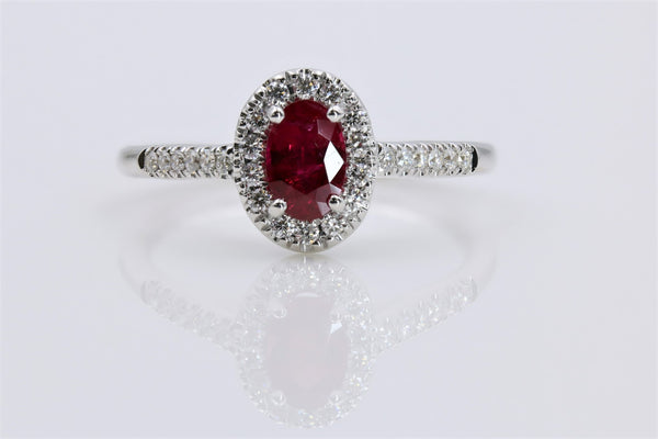 RUBY AND DIAMOND HALO RING IN 14K WHITE GOLD