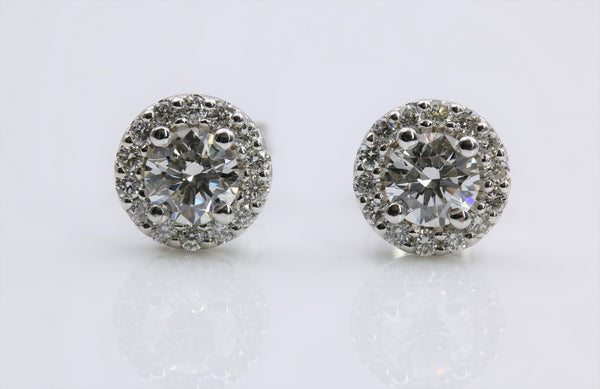 DIAMOND STUD HALO EARRINGS 14K WHITE GOLD