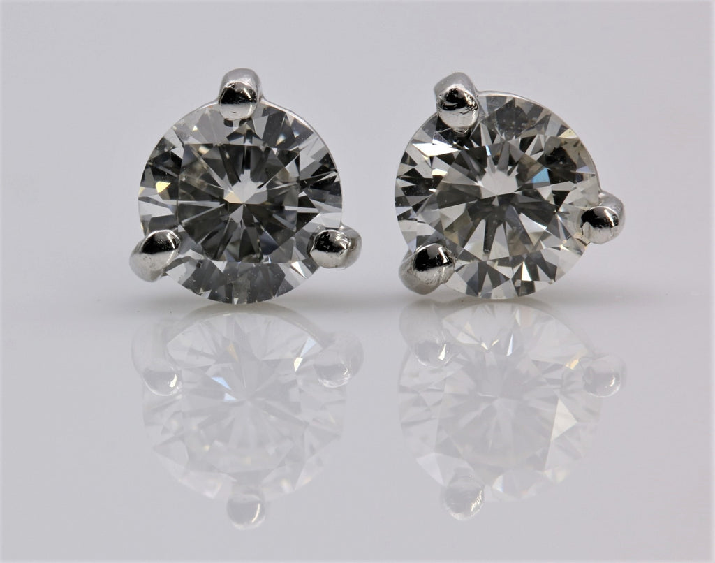 DIAMOND STUD EARRINGS 3 PRONG 14K WHITE GOLD