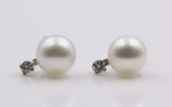 PEARL/DIAMOND STUD EARRINGS 14K WHITE GOLD