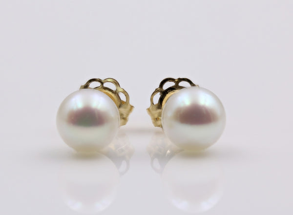 PEARL STUD EARRINGS 14K YELLOW GOLD