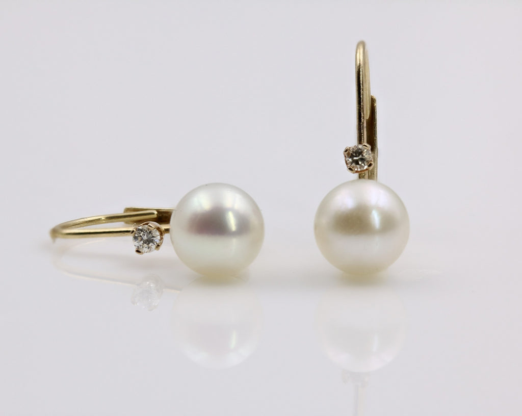 PEARL/DIAMOND EARRINGS 14K YELLOW GOLD