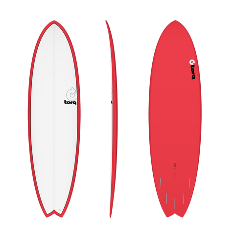 "6'10"" Torq Mod Fish Pinline Red White Deck"