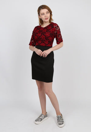 Sharon Red Brocade