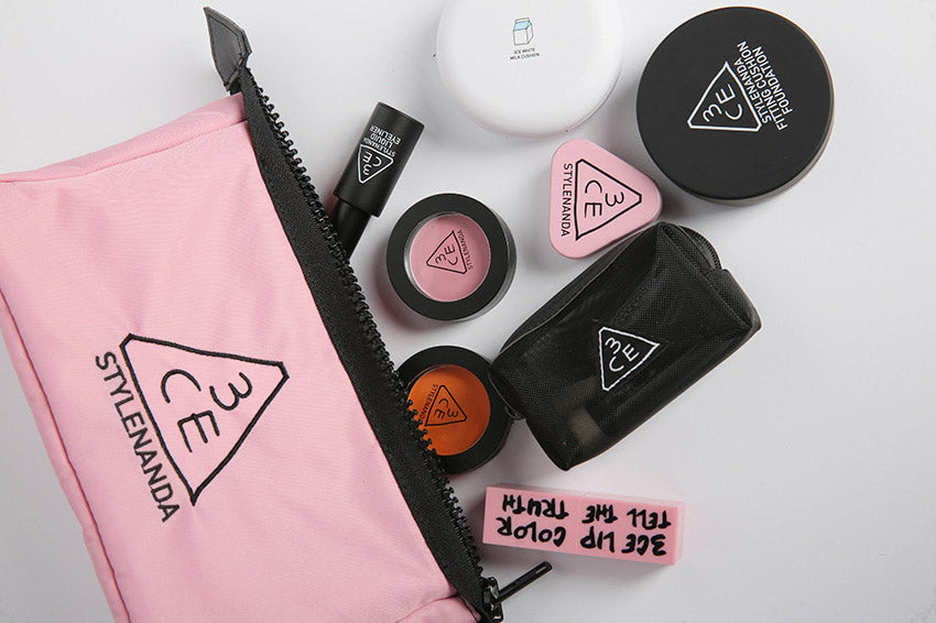 3CE Stylenanda Rumour Pink Pouch Travel Cosmetic Bags