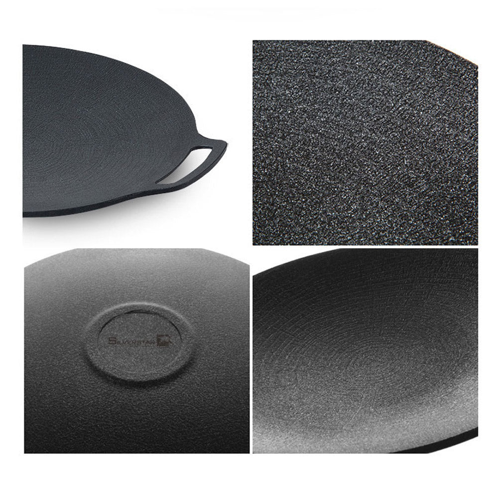 SilverStar Grill Pan Grille Non-Stick Easy to Clean Round Ridged Pan