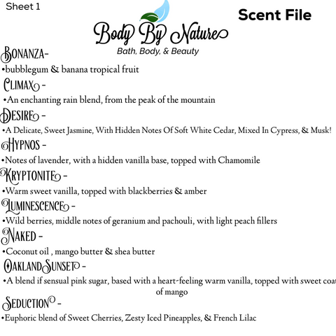 Scent file sheet 1
