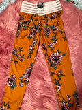 Booty Leggings Bow Pockets High Waisted Butt Scrunch Stretch in Not So Mellow Yellow Floral