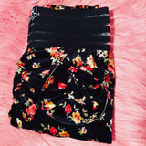Booty Leggings Bow Pockets High Waisted Butt Scrunch Stretch in Velvet Garden