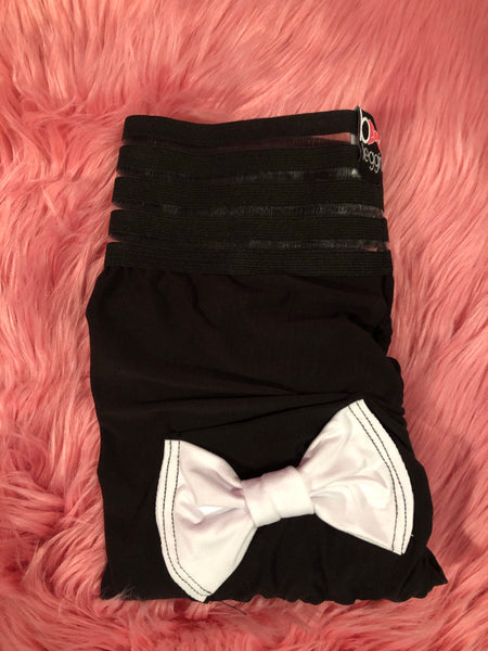 Booty Leggings Bow Pocket Extra High Waisted Butt Scrunch Stretch Booty in Not So Basic Black With White Bows