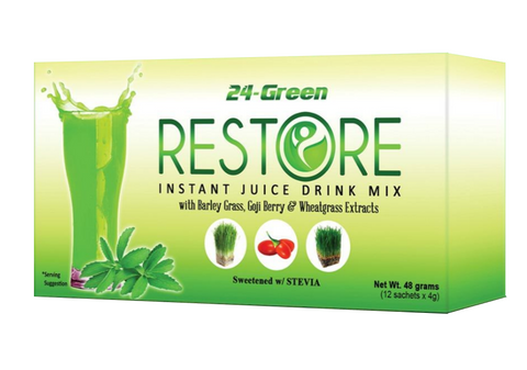 24-Green Restore Instant juice Drink (12 sachet x 4gm) Dotnet Wink Collection - Periwinkle Online