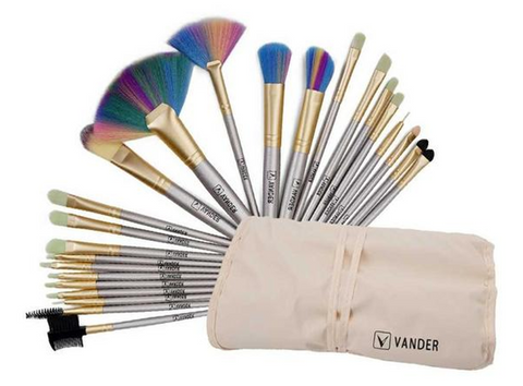 Champagne 24pcs/ Set Professional Synthetic Hair Makeup Brushes with Bag