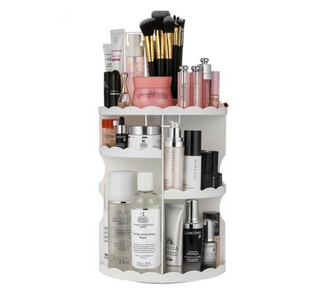 Extra Large Capacity 360 Degree Rotating Adjustable Multi-Function Makeup Organizer