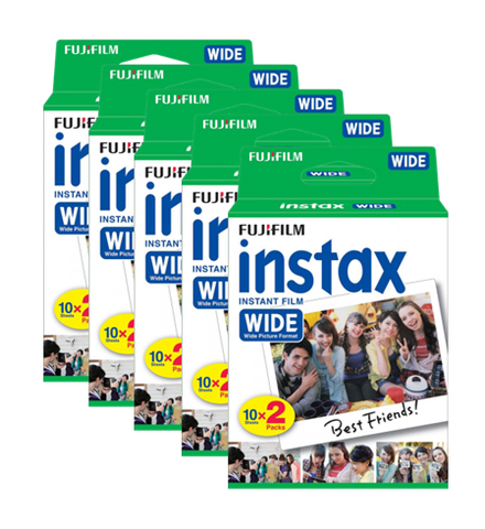 Free Shipping | 5pcs Fujifilm Instax Wide Film Plain Edge Twin Pack Version (10 sheets x 2 x 5 Boxes) Fuji Film - iWynx