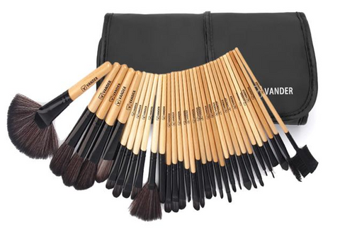 Multipurpose 32Pcs (Wood) Set Professional Makeup Brush Set Foundation Eye Face Shadows Lipsticks Powder Kit + Bag