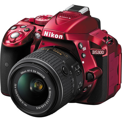 Nikon Japan Version D5300 Digital SLR 24.2MP RED Camera Body with AF-S 18-55mm II VR Lens * Nikon DSLR w/ Shipping Fee - Periwinkle Online