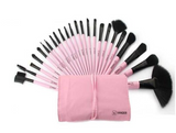Pink (Black Hair) 24pcs/ Set Professional Synthetic Hair Makeup Brushes with Bag