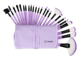 Purple 24pcs/ Set Professional Synthetic Hair Makeup Brushes with Bag