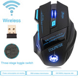 Wireless Mouse Gamer Gaming Mouse Optical 2400DPI 2.4G ECHTPower Nighthawk F14 LED 7D Gaming Mice * Memteq Wireless Mouse - Periwinkle Online