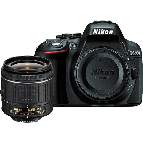 Nikon D5300 24.2MP Black DSLR Camera Body with AF-P DX 18-55mm f/3.5-5.6G VR Lens * Nikon DSLR w/ Shipping Fee - Periwinkle Online