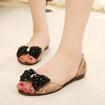 Summer Flat sandals Transparent peep toe crystal women summer beach Shoes Jelly sandals