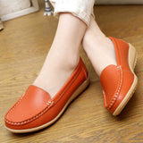 Casual large size leather flat nurse white non-slip work comfortable pregnant women Shoes * Fongimic Women Slip-on Flat Shoes - Periwinkle Online