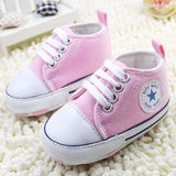 2017 New Cute Stars Baby Shoes 3 Colors Lace up Shallow Newborn First Walkers - Periwinkle Online