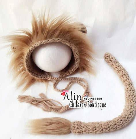 Lion born Crochet Photography Hat and Tail Set for born * other Baby Photography Costume - Periwinkle Online