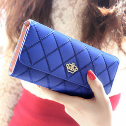 2017 New Long Fashion Leather Lattice High QualityWomen Wallet - 8 colors - Periwinkle Online