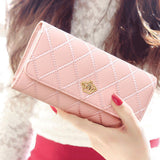 Long Fashion Leather Lattice High QualityWomen Wallet - 8 colors