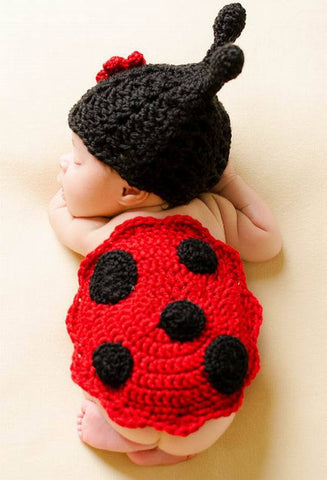 Handmade born Photography props Headdress Flower ladybug knitted hat Cashmere 0-6Month * other Baby Photography Costume - Periwinkle Online