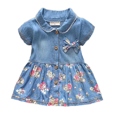 Spring Autumn Denim Baby Girls Floral Bow Infant Princess Dress * other Baby Clothes - Periwinkle Online