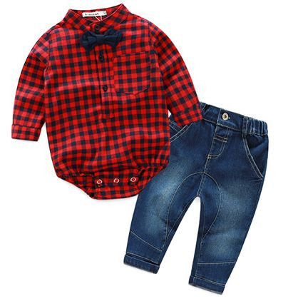 Infant Baby Boys Sets Red Plaid long-sleeved Tops+ Pants 2pcs Outfits Toddlers Suits * Kimocat Baby Clothes - Periwinkle Online