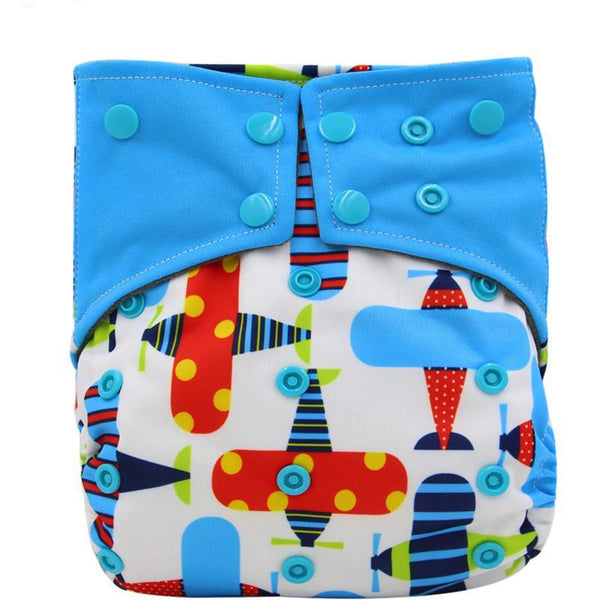 1PC Reusable Waterproof Bamboo Charcoal One Size Pocket Cloth Diaper, Double Gussets,Color Snap - Periwinkle Online