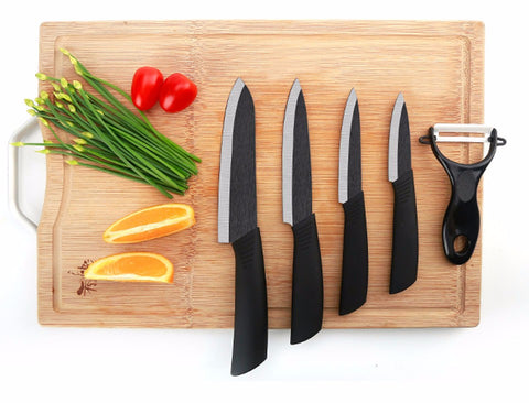 "FINDKING Top quality Zirconia Black Blade 3"" 4"" 5"" 6"" inch + Peeler + covers ceramic knife set - Periwinkle Online"