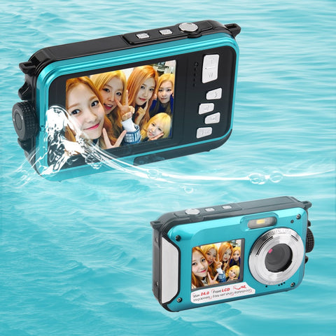 NEW 2.7inch TFT Digital Camera Waterproof 24MP MAX 1080P Double Screen 16x Digital Zoom Camcorder - Periwinkle Online