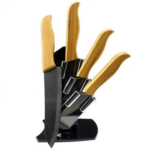 "High sharp quality Bamboo handle with black blade Ceramic Knife Set 3"" 4"" 5"" 6 "" * Findking Kitchen Knives - Periwinkle Online"