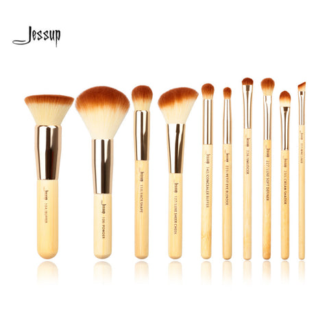 Jessup 10pcs Beauty Bamboo Professional Makeup Brushes Set Jessup * Make-up Brush - Periwinkle Online
