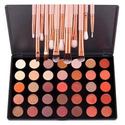 35 Colors Shimmer Matte Professional Makeup Eyeshadow Palette With 12 Pcs Eye Brush