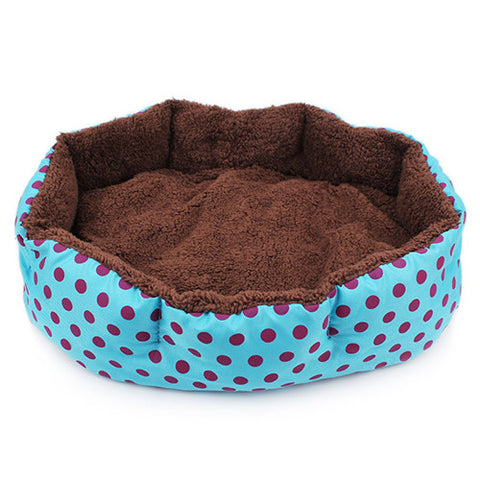 Winter Warm Pet Bed Soft Fleece Dot Design Pet Nest With Removable Pet Mat