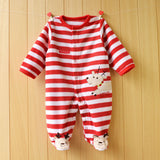 Unisex Baby Rompers born Baby Long Sleeve Striped Cartoon Infant Jumpsuit