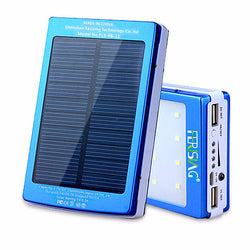 100% Real 15600mAh Dual USB with Portable LED Light Charger Solar Power Bank
