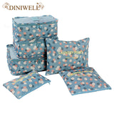 6 Pcs Print Travel Suitcase Divider container Storage Bag Set Diniwell AliExpress - Periwinkle Online