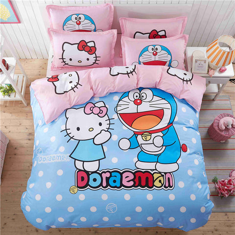 CARA CARLE Hello kitty 4pcs Set Duvet Cover Bed Sheet Pillowcase Comforter