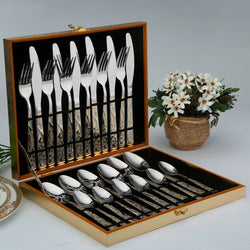 24Pcs/lot Stainless Steel Flatware Sets Silverware Knife Spoon Fork With Gift Box